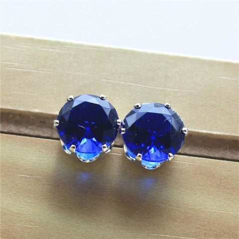 Cubic Zirconia 8Mm Stud Earrings - Silver Blue - Custom Made | Free Shipping