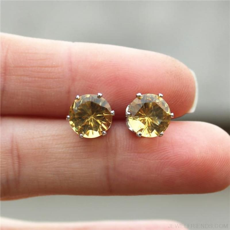 Cubic Zirconia 8Mm Stud Earrings - Silver Champagne - Custom Made | Free Shipping