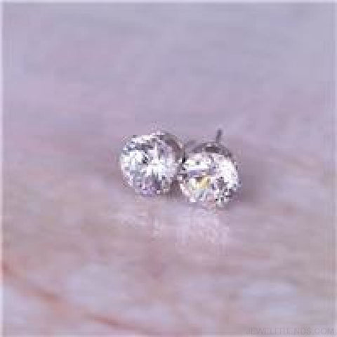 Cubic Zirconia 8Mm Stud Earrings - Silver Clear - Custom Made | Free Shipping