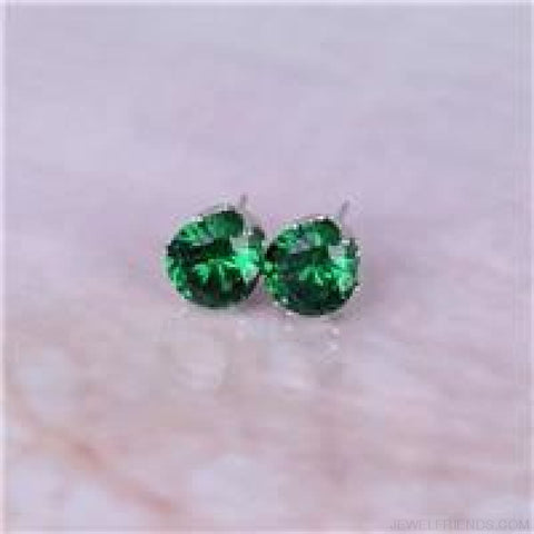 Cubic Zirconia 8Mm Stud Earrings - Silver Green - Custom Made | Free Shipping