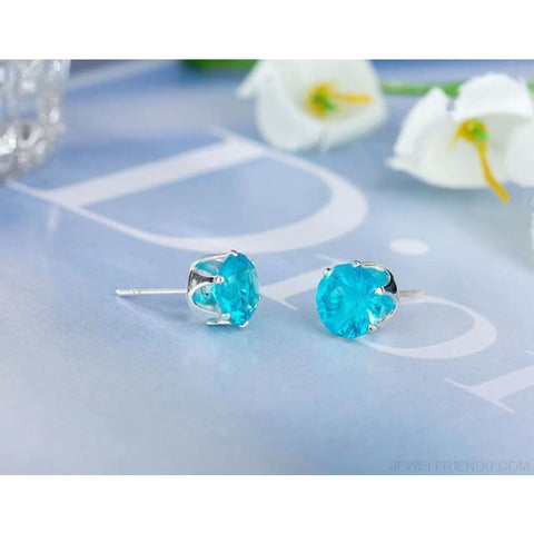 Image of Cubic Zirconia 8Mm Stud Earrings - Silver Lake Blue - Custom Made | Free Shipping