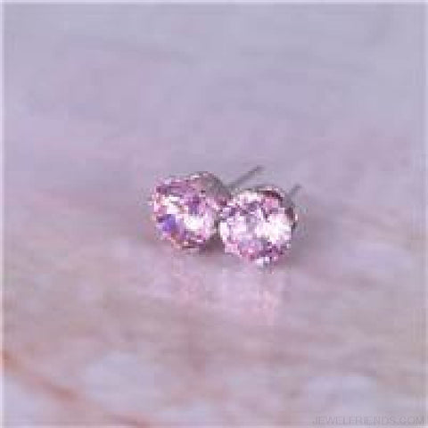 Image of Cubic Zirconia 8Mm Stud Earrings - Silver Pink - Custom Made | Free Shipping