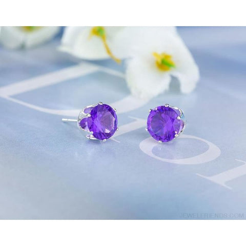 Image of Cubic Zirconia 8Mm Stud Earrings - Silver Purple - Custom Made | Free Shipping