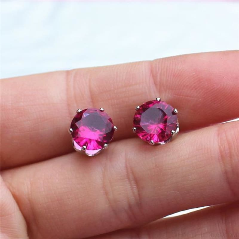 Cubic Zirconia 8Mm Stud Earrings - Silver Rase - Custom Made | Free Shipping