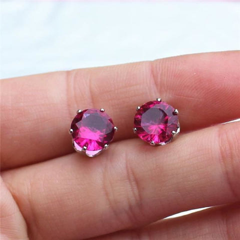 Image of Cubic Zirconia 8Mm Stud Earrings - Silver Rase - Custom Made | Free Shipping