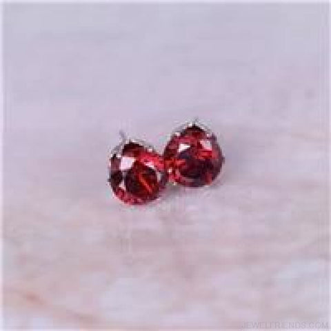 Image of Cubic Zirconia 8Mm Stud Earrings - Silver Red - Custom Made | Free Shipping
