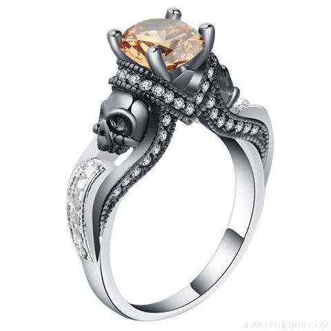 Image of Cubic Zirconia Two Skull Rings - 11 / Champagne - Custom Made | Free Shipping