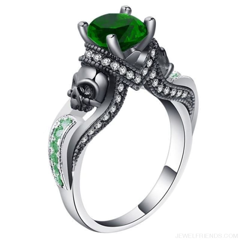 Cubic Zirconia Two Skull Rings - 11 / Green - Custom Made | Free Shipping