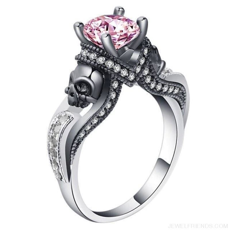 Cubic Zirconia Two Skull Rings - 11 / Pink - Custom Made | Free Shipping