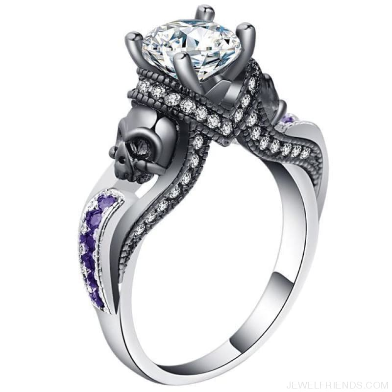Cubic Zirconia Two Skull Rings - 11 / Purple White - Custom Made | Free Shipping