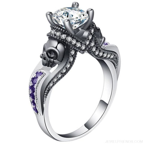 Image of Cubic Zirconia Two Skull Rings - 11 / Purple White - Custom Made | Free Shipping