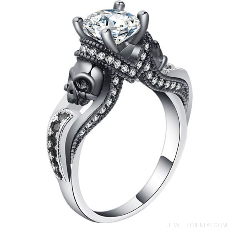 Cubic Zirconia Two Skull Rings - 11 / White - Custom Made | Free Shipping