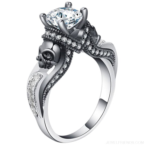 Image of Cubic Zirconia Two Skull Rings - Custom Made | Free Shipping