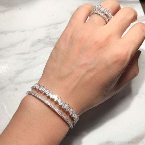Image of Cuff Bangle & Ring Sets Aaa Zircon - Custom Made | Free Shipping