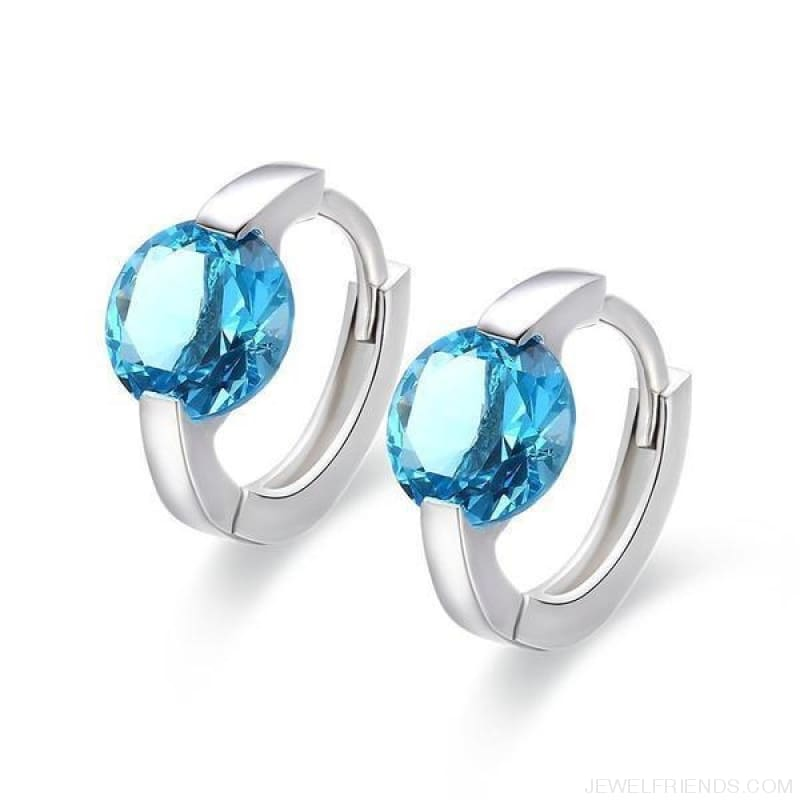 Cute 925 Sterling Silver Round Crystal Circle Small Hoop Earrings - Blue Cz - Custom Made | Free Shipping