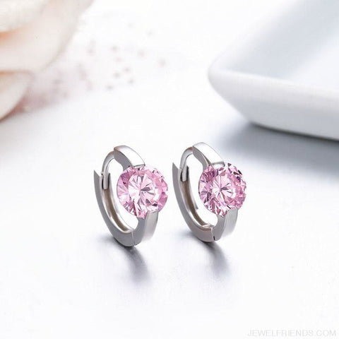 Image of Cute 925 Sterling Silver Round Crystal Circle Small Hoop Earrings - Custom Made | Free Shipping