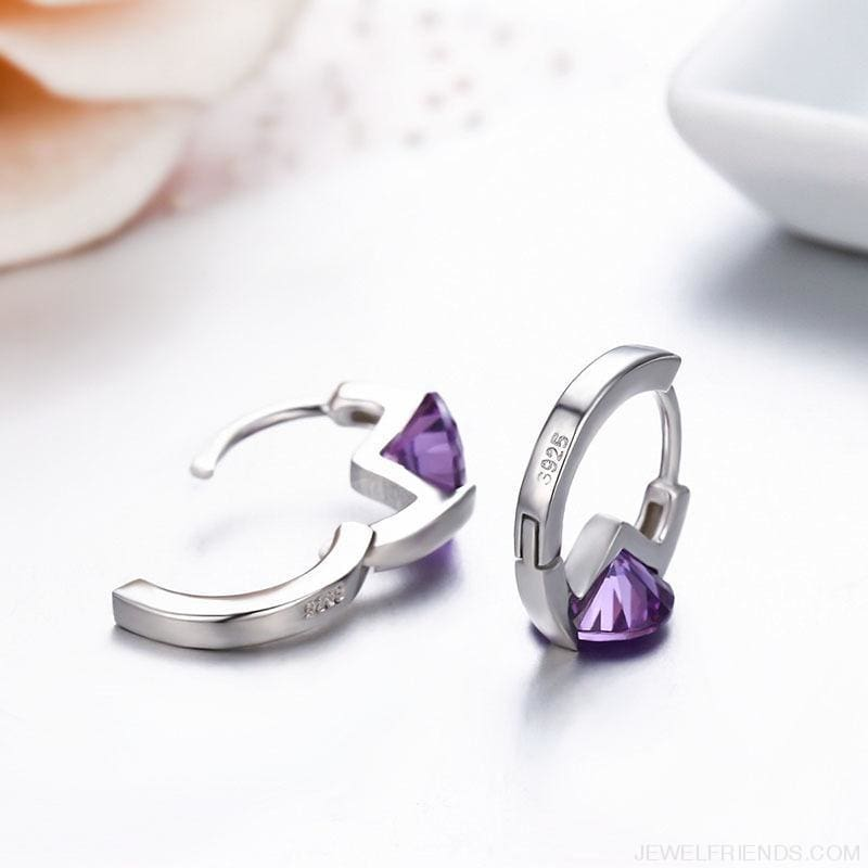 Cute 925 Sterling Silver Round Crystal Circle Small Hoop Earrings - Custom Made | Free Shipping