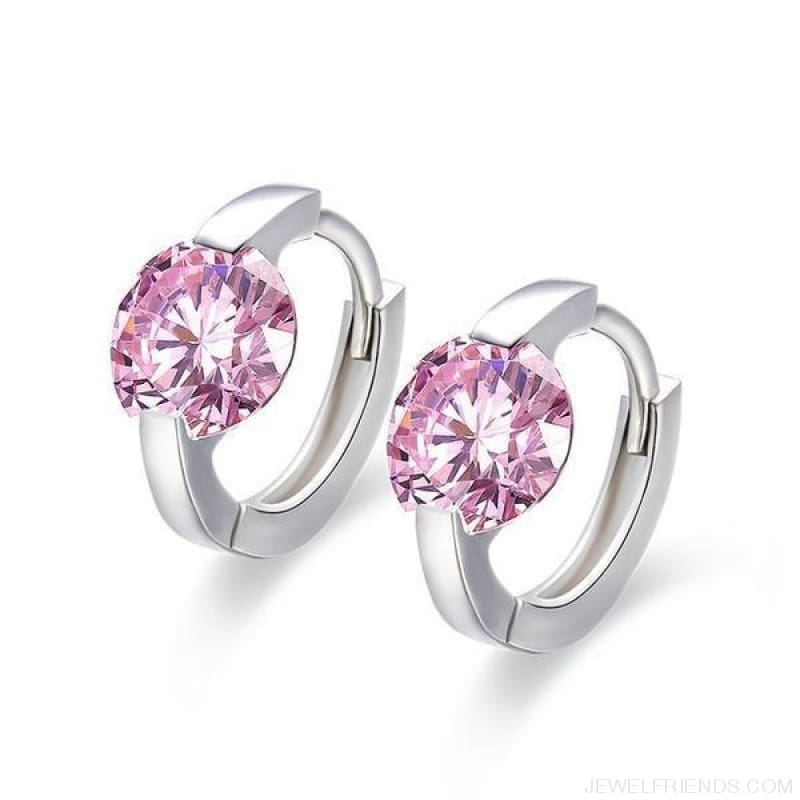 Cute 925 Sterling Silver Round Crystal Circle Small Hoop Earrings - Pink Cz - Custom Made | Free Shipping