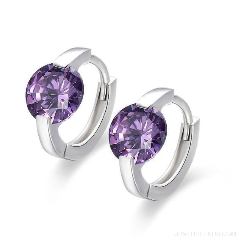 Cute 925 Sterling Silver Round Crystal Circle Small Hoop Earrings - Purple Cz - Custom Made | Free Shipping