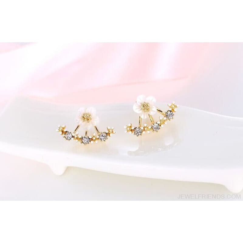 Cute Cherry Blossoms Flower Stud Earrings - Gold-Color - Custom Made | Free Shipping