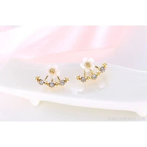 Image of Cute Cherry Blossoms Flower Stud Earrings - Gold-Color - Custom Made | Free Shipping