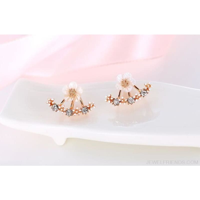 Cute Cherry Blossoms Flower Stud Earrings - Rose Gold Color - Custom Made | Free Shipping