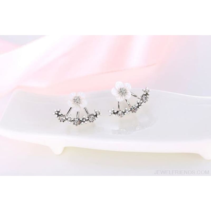 Cute Cherry Blossoms Flower Stud Earrings - Silver Plated - Custom Made | Free Shipping