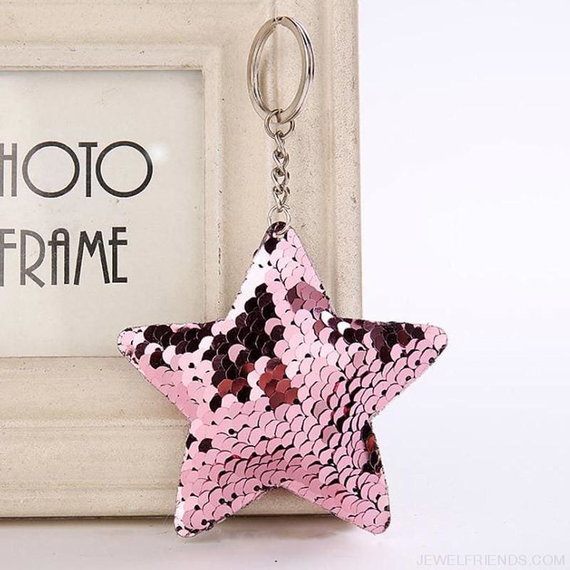 Cute Glitter Pompom Sequins Key Chains - Custom Made | Free Shipping