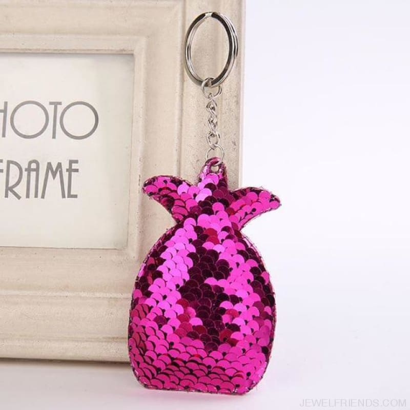 Cute Glitter Pompom Sequins Key Chains - Kcy011 - Custom Made | Free Shipping
