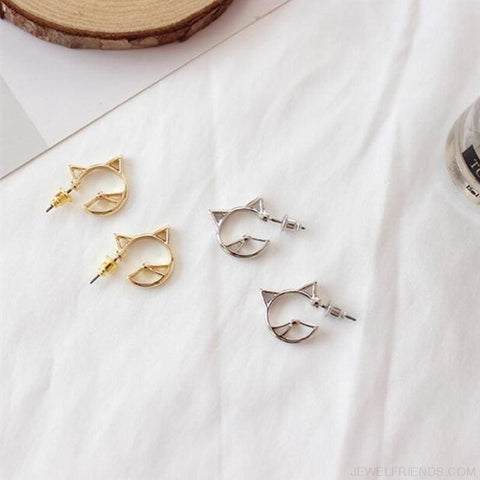 Image of Cute Hollow Cat Alloy Studs Earrings - Custom Made | Free Shipping