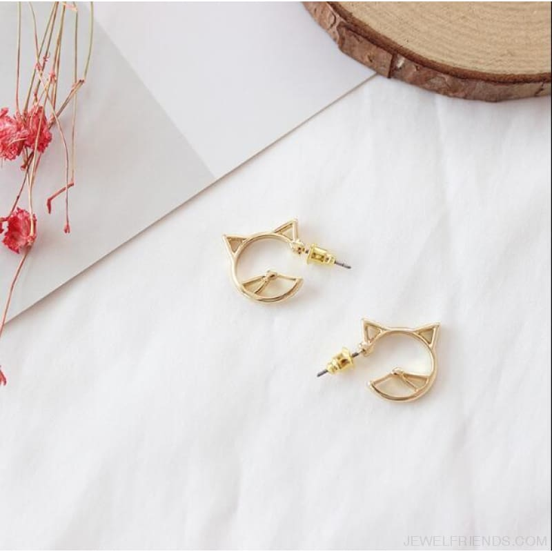 Cute Hollow Cat Alloy Studs Earrings - Custom Made | Free Shipping