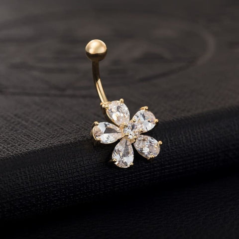Cz Crystal Flower Belly Button Rings - Custom Made | Free Shipping