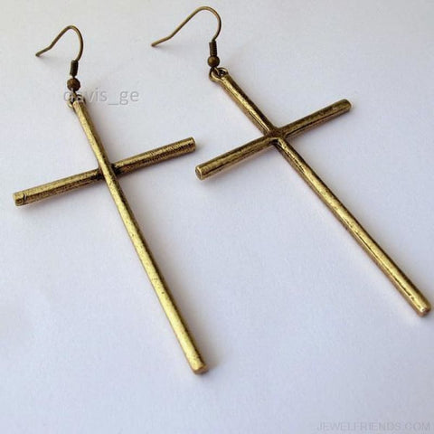 Dangle Cross Earring - Bronze - Custom Made | Free Shipping