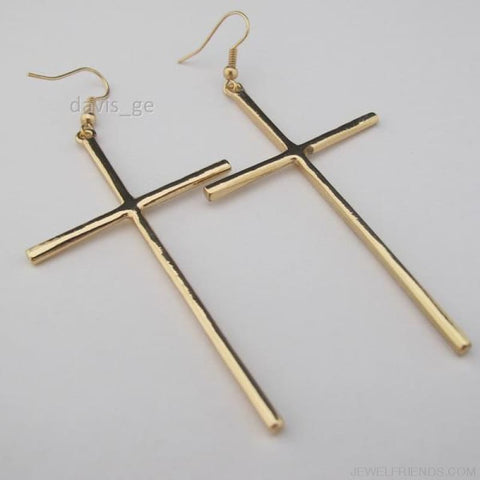 Dangle Cross Earring - Gold - Custom Made | Free Shipping