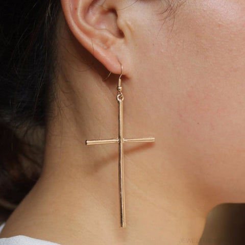 Dangle Cross Earring - Custom Made | Free Shipping