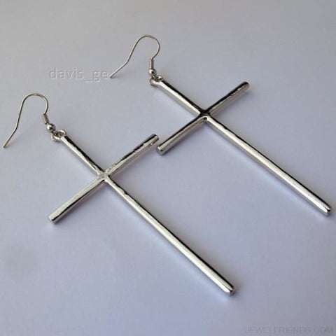 Dangle Cross Earring - Silver - Custom Made | Free Shipping