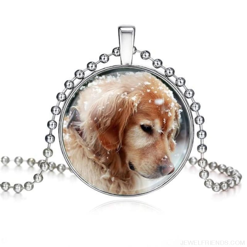 Dogs Pictures Glass Cabochon Pendant Necklace - 62040004 - Custom Made | Free Shipping