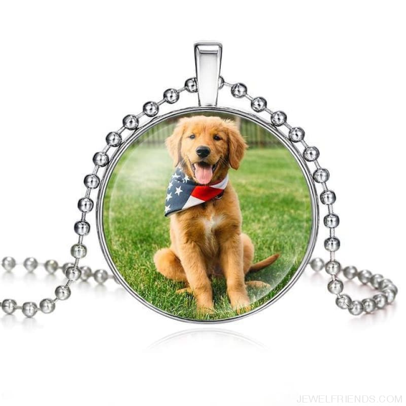 Dogs Pictures Glass Cabochon Pendant Necklace - 62040005 - Custom Made | Free Shipping