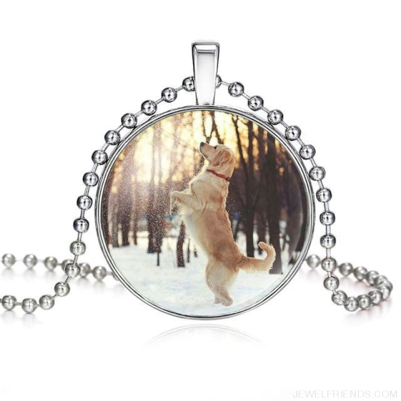 Dogs Pictures Glass Cabochon Pendant Necklace - 62040006 - Custom Made | Free Shipping