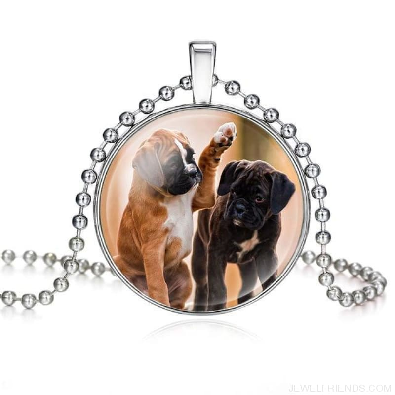 Dogs Pictures Glass Cabochon Pendant Necklace - 62040007 - Custom Made | Free Shipping