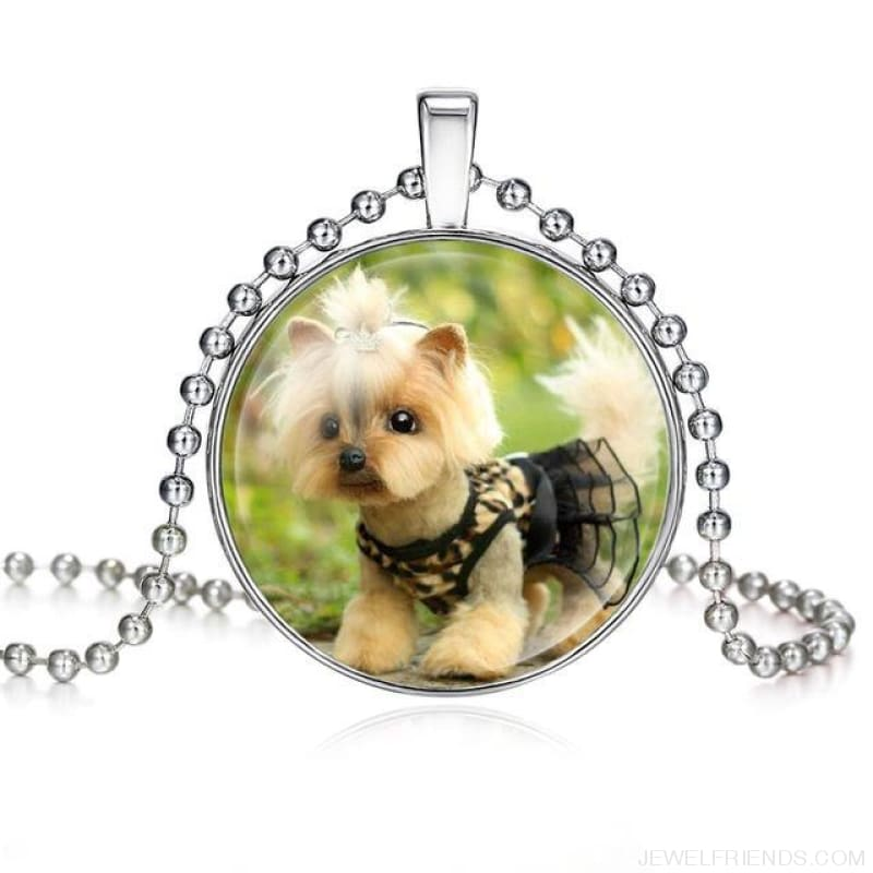 Dogs Pictures Glass Cabochon Pendant Necklace - 62040008 - Custom Made | Free Shipping