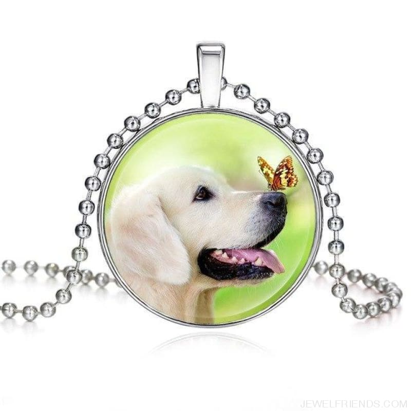 Dogs Pictures Glass Cabochon Pendant Necklace - 62040009 - Custom Made | Free Shipping