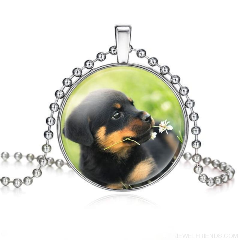 Dogs Pictures Glass Cabochon Pendant Necklace - 62040010 - Custom Made | Free Shipping