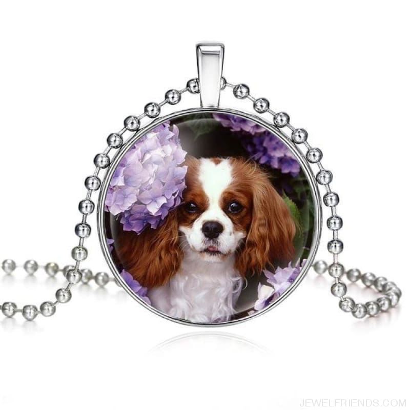 Dogs Pictures Glass Cabochon Pendant Necklace - 62040011 - Custom Made | Free Shipping