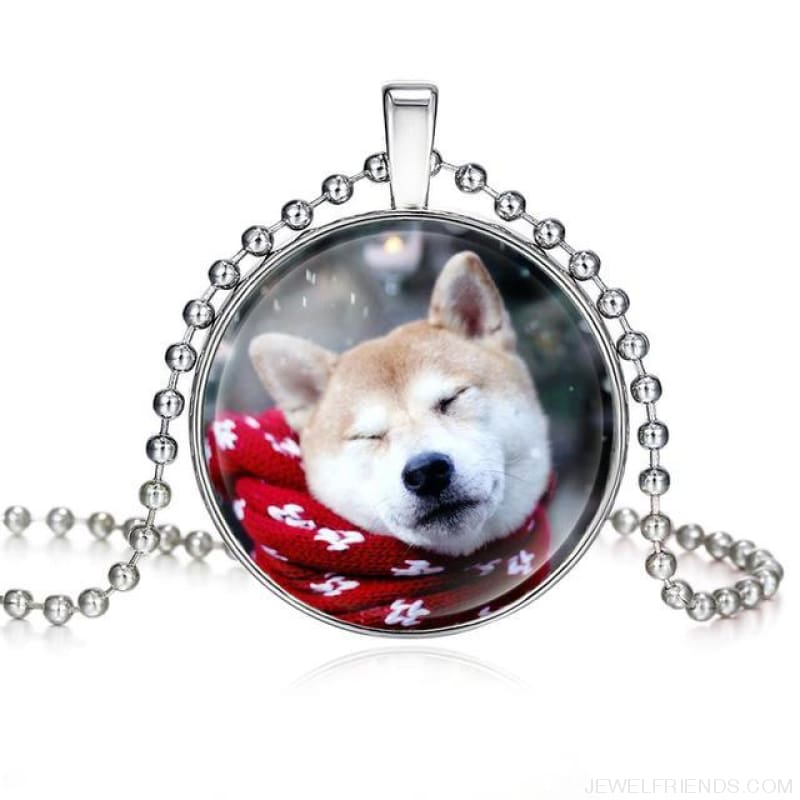 Dogs Pictures Glass Cabochon Pendant Necklace - 62040014 - Custom Made | Free Shipping