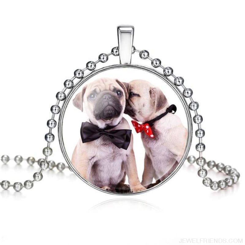 Dogs Pictures Glass Cabochon Pendant Necklace - 62040015 - Custom Made | Free Shipping