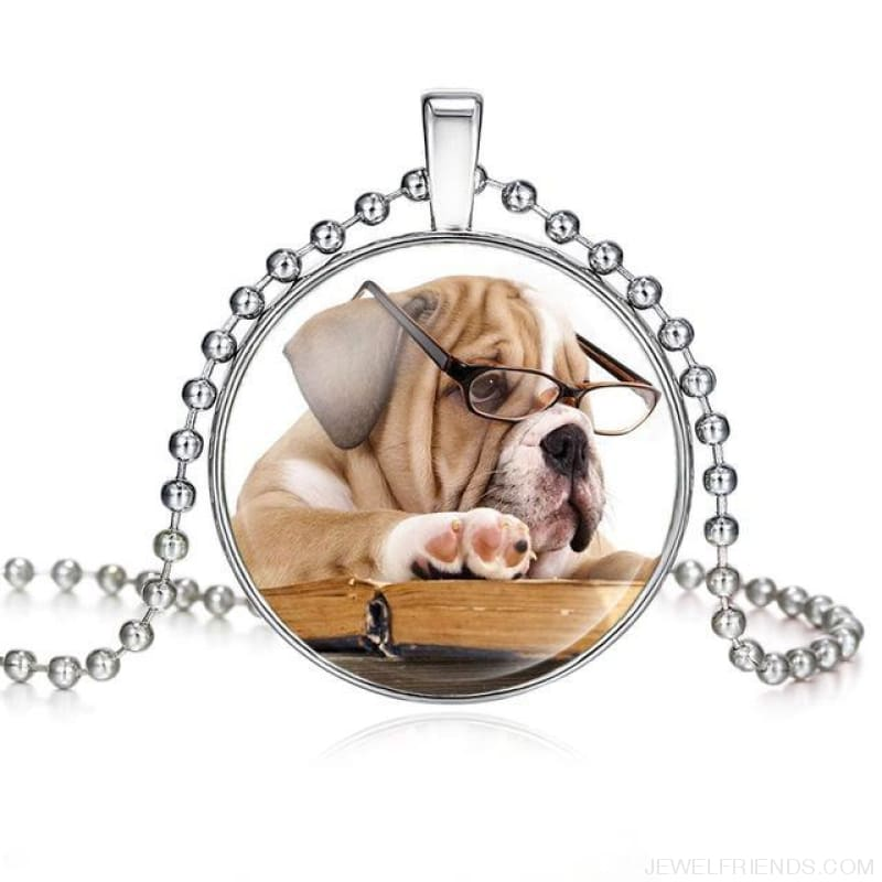 Dogs Pictures Glass Cabochon Pendant Necklace - 62040016 - Custom Made | Free Shipping