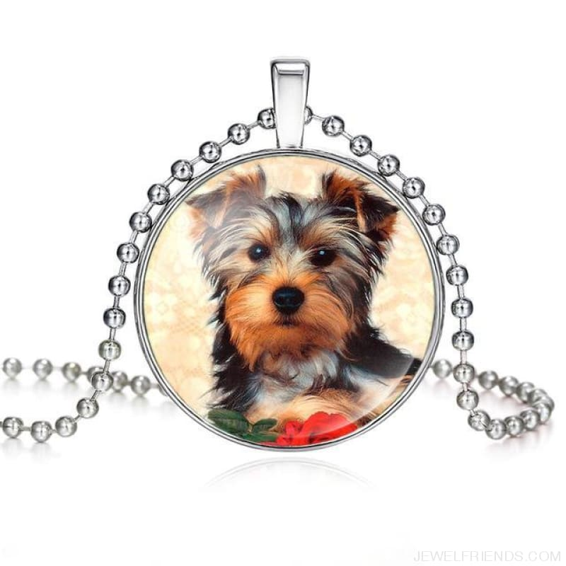 Dogs Pictures Glass Cabochon Pendant Necklace - 62040017 - Custom Made | Free Shipping