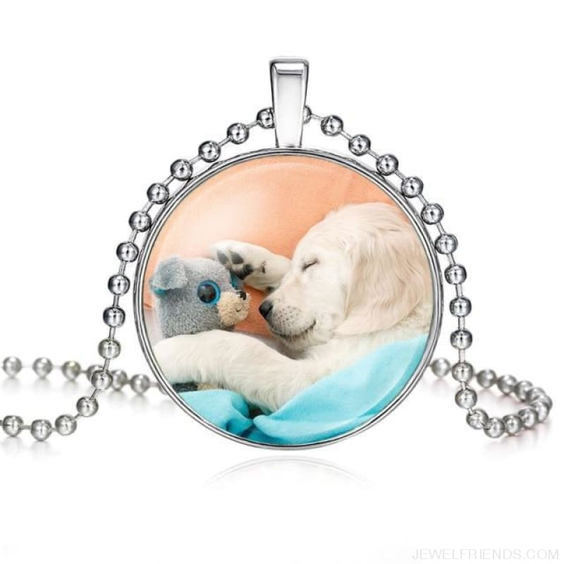 Dogs Pictures Glass Cabochon Pendant Necklace - 62040018 - Custom Made | Free Shipping