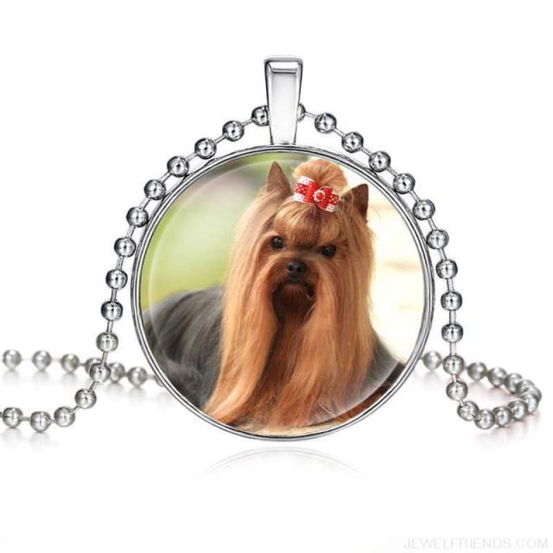 Dogs Pictures Glass Cabochon Pendant Necklace - 62040019 - Custom Made | Free Shipping